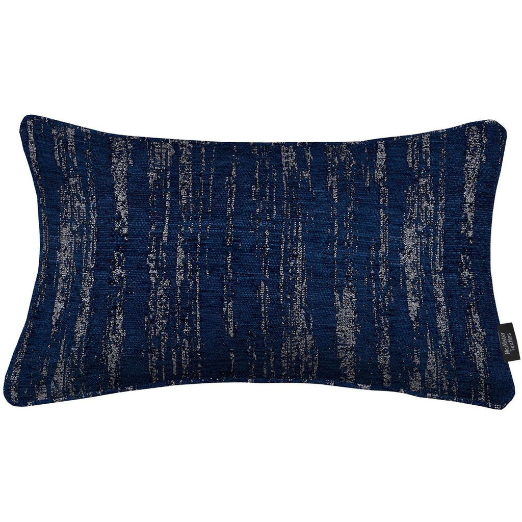 McAlister Textiles Textured Chenille Navy Blue Pillow Cushions and Covers