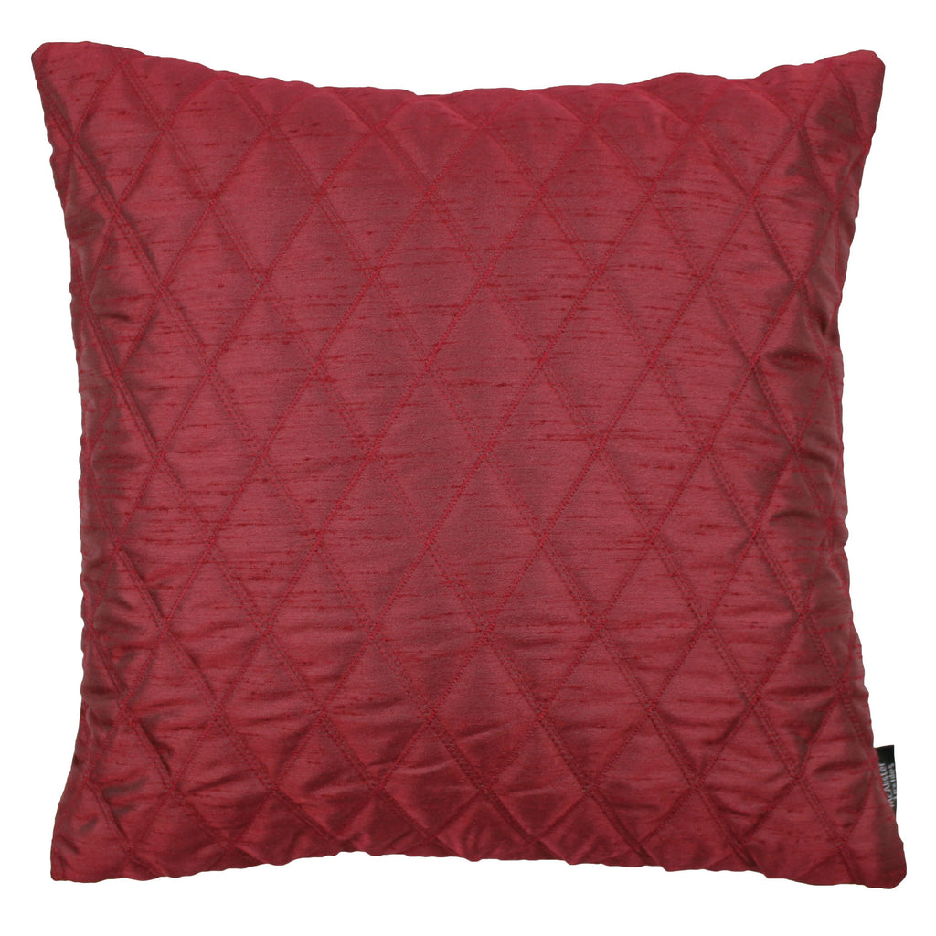 McAlister Textiles Rocco Diamond Quilted Wine Red Silk Cushion Cushions and Covers Cover Only 43cm x 43cm