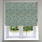 Load image into Gallery viewer, McAlister Textiles Little Leaf Teal Roman Blind Roman Blinds Standard Lining 130cm x 200cm