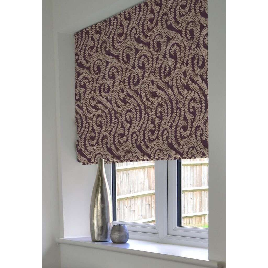 McAlister Textiles Little Leaf Aubergine Purple Roman Blind Roman Blinds