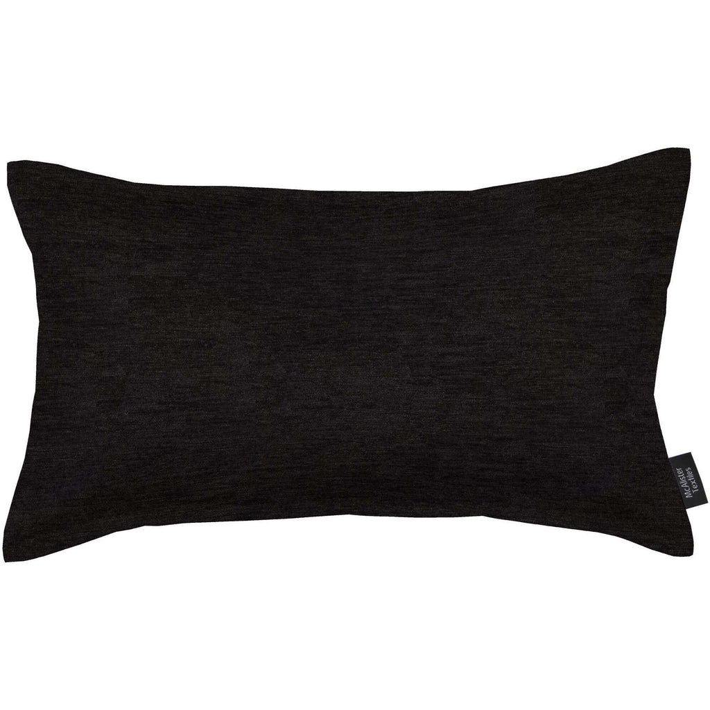 McAlister Textiles Plain Chenille Black Pillow Pillow Cover Only 50cm x 30cm