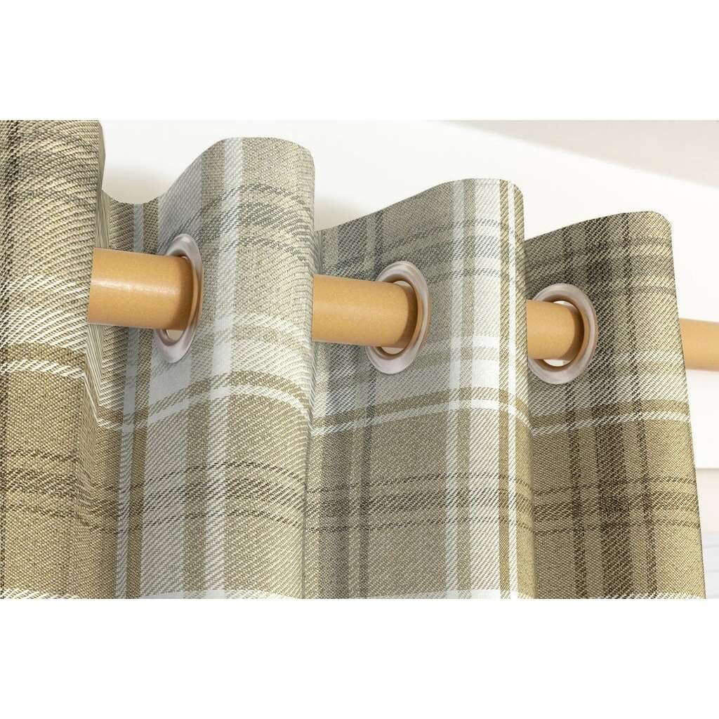 McAlister Textiles Angus Beige Cream Tartan Curtains Tailored Curtains