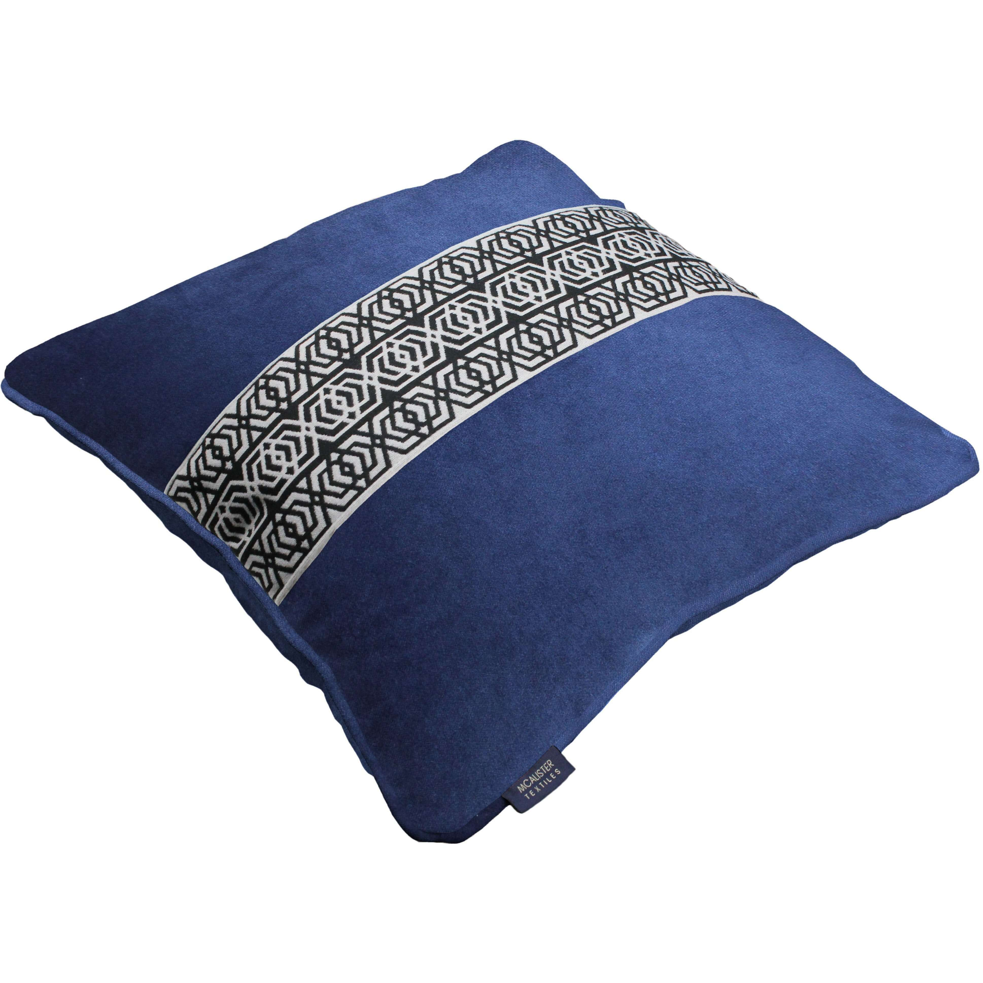 McAlister Textiles Coba Striped Navy Blue Velvet Cushion Cushions and Covers