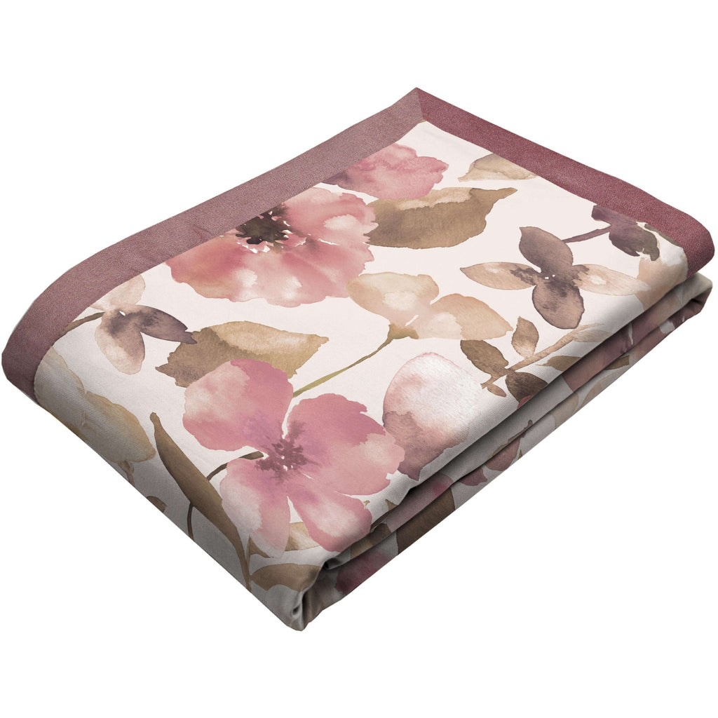 McAlister Textiles Blush Pink Floral Velvet Throw Blankets & Runners Throws and Runners Regular (130cm x 200cm)