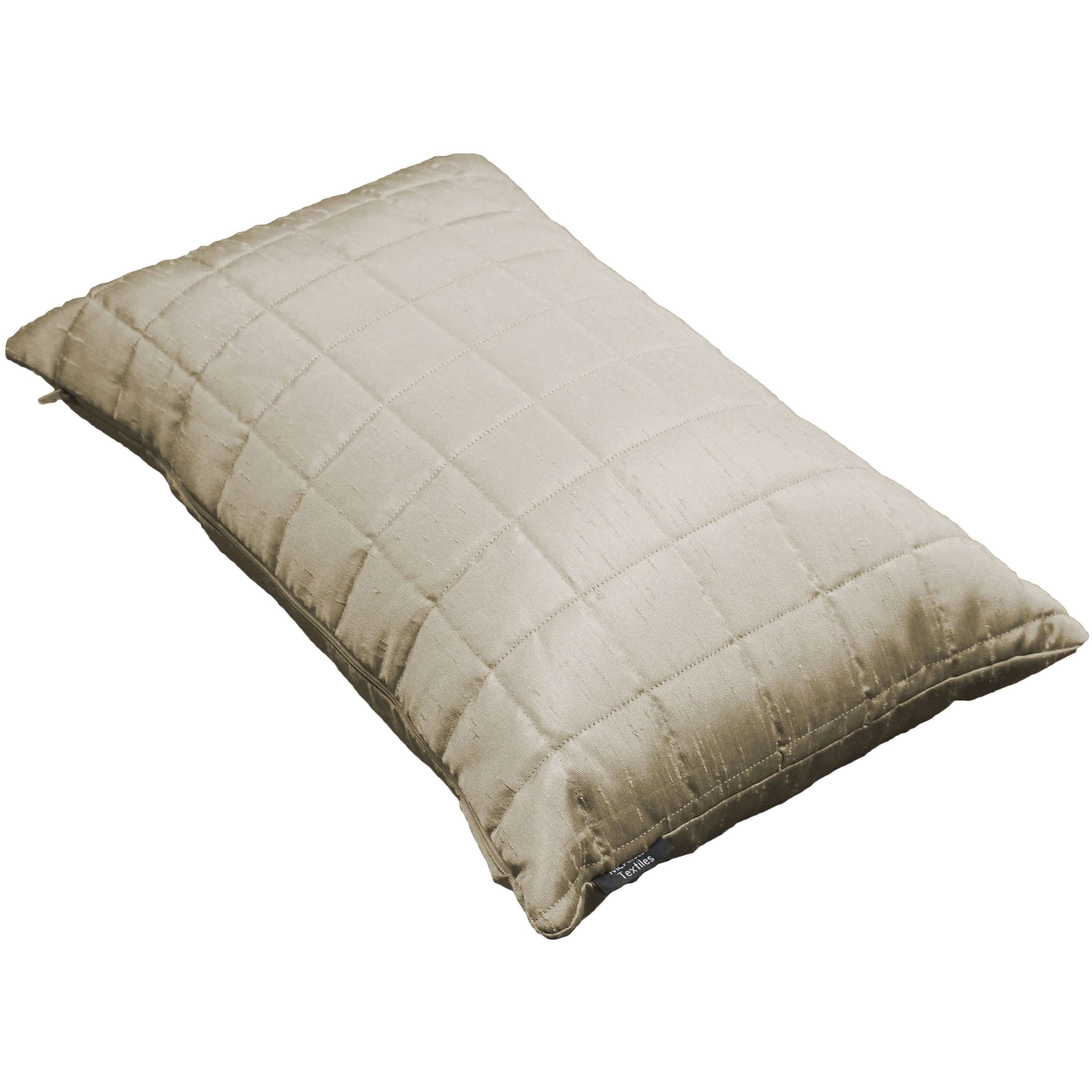McAlister Textiles Rocco Square Quilted Ivory Silk Cushion Cushions and Covers