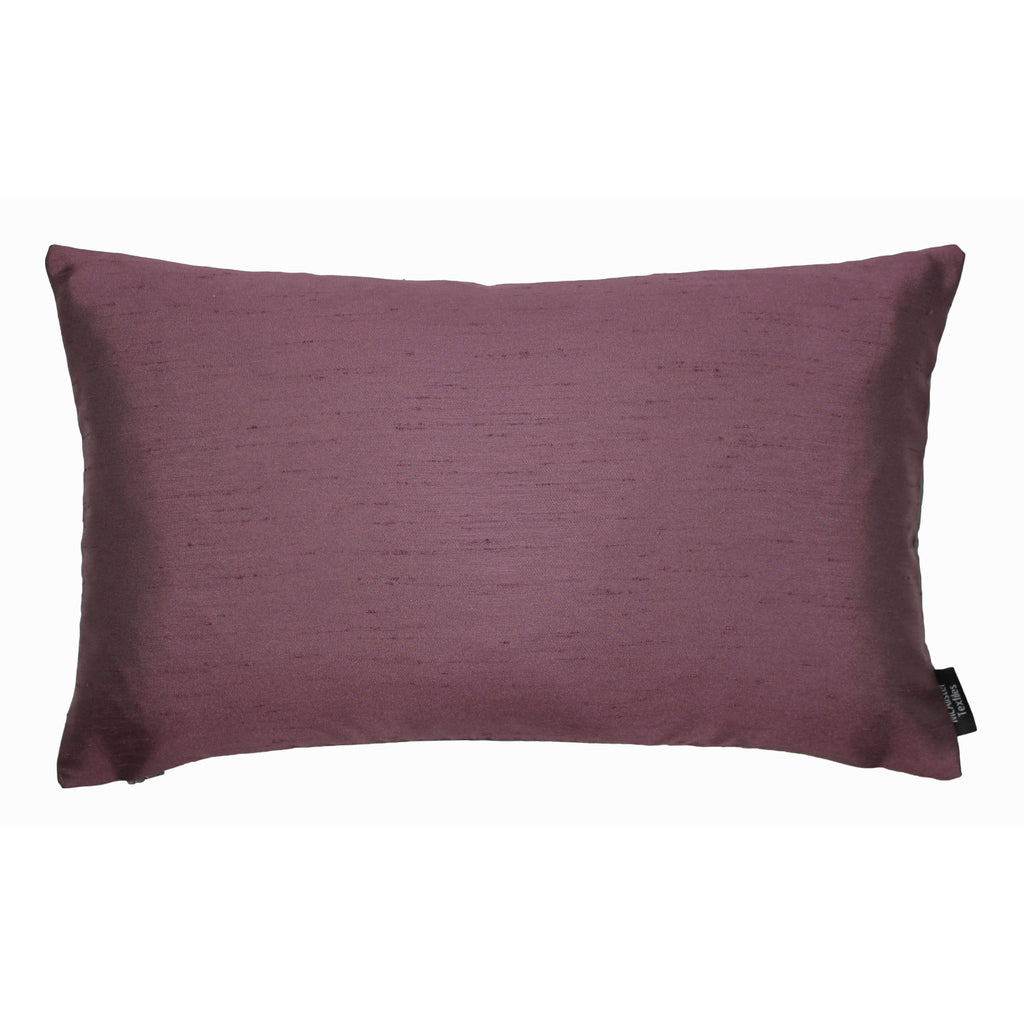 McAlister Textiles Rocco Contrast Faux Silk Purple + Grey Cushion Cushions and Covers Cover Only 50cm x 30cm