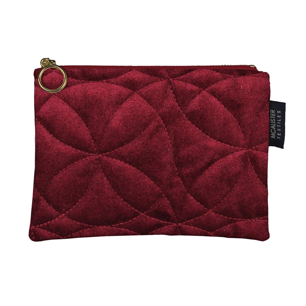 McAlister Textiles Circular Pattern Red Velvet Makeup Bag Clutch Bag
