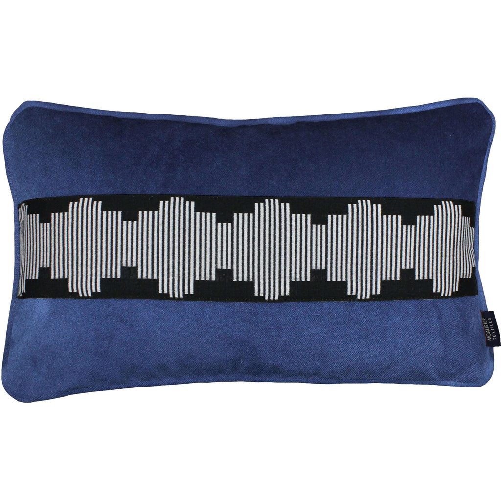McAlister Textiles Maya Striped Navy Blue Velvet Pillow Pillow Cover Only 50cm x 30cm