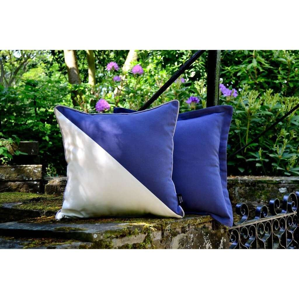 McAlister Textiles Panama Accent Navy Blue + Grey Cushion Cushions and Covers