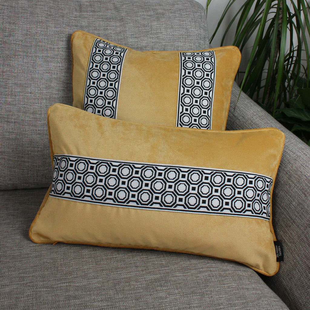 McAlister Textiles Cancun Striped Ochre Yellow Velvet Cushion Cushions and Covers