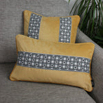 Load image into Gallery viewer, McAlister Textiles Cancun Striped Ochre Yellow Velvet Cushion Cushions and Covers