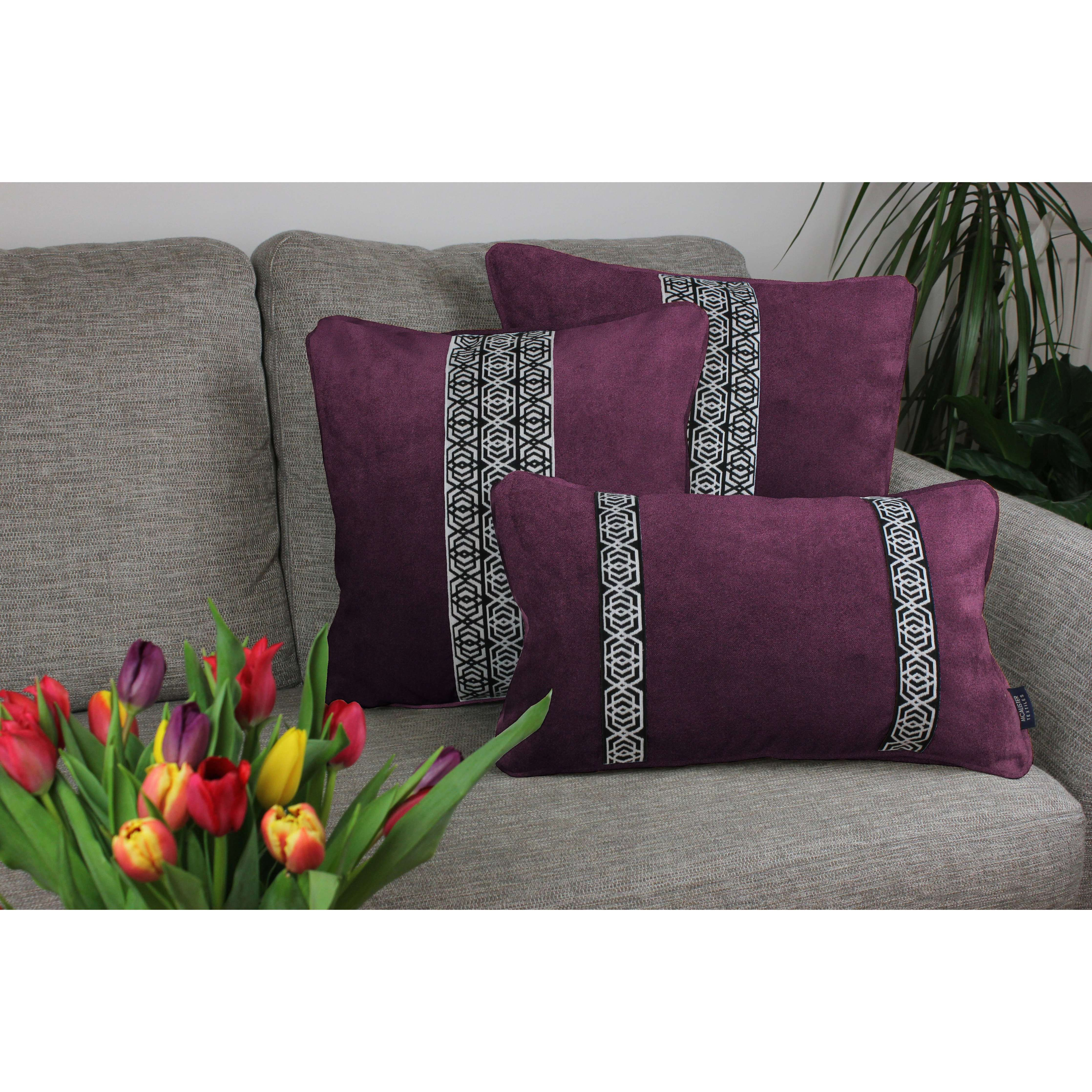 McAlister Textiles Coba Striped Aubergine Purple Velvet Cushion Cushions and Covers