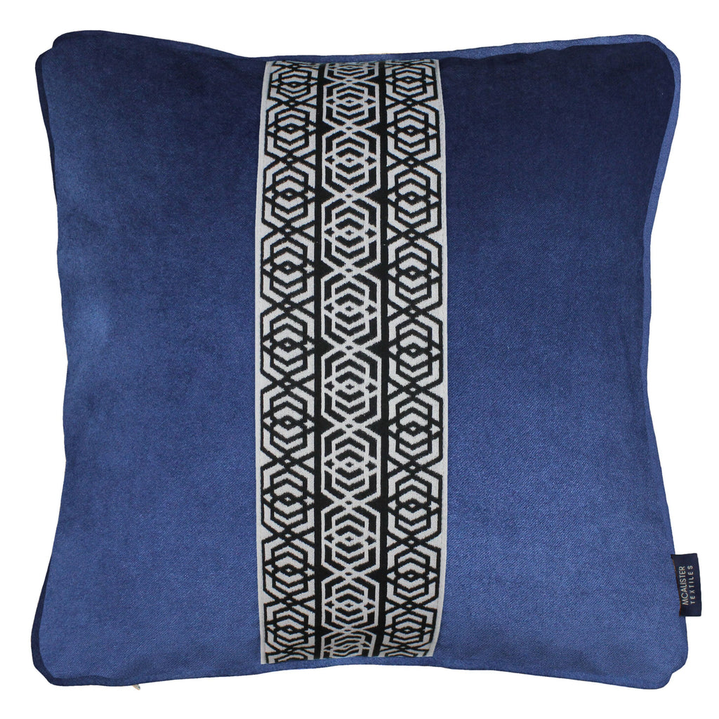 McAlister Textiles Coba Striped Navy Blue Velvet Cushion Cushions and Covers Polyester Filler 43cm x 43cm