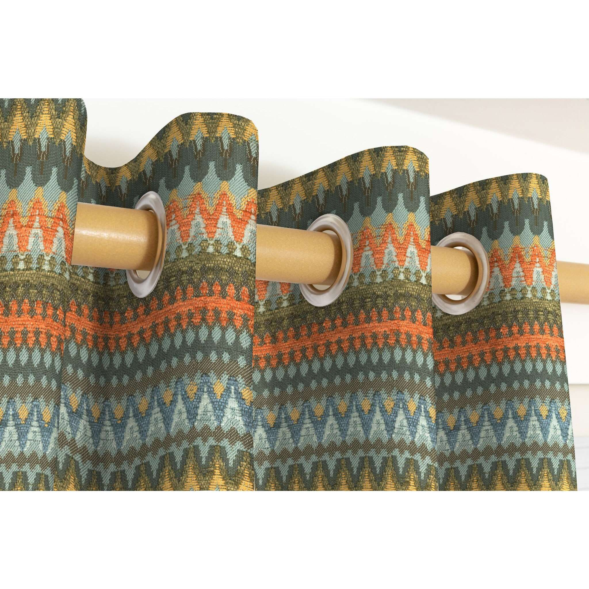 McAlister Textiles Curitiba Aztec Orange + Teal Curtains Tailored Curtains