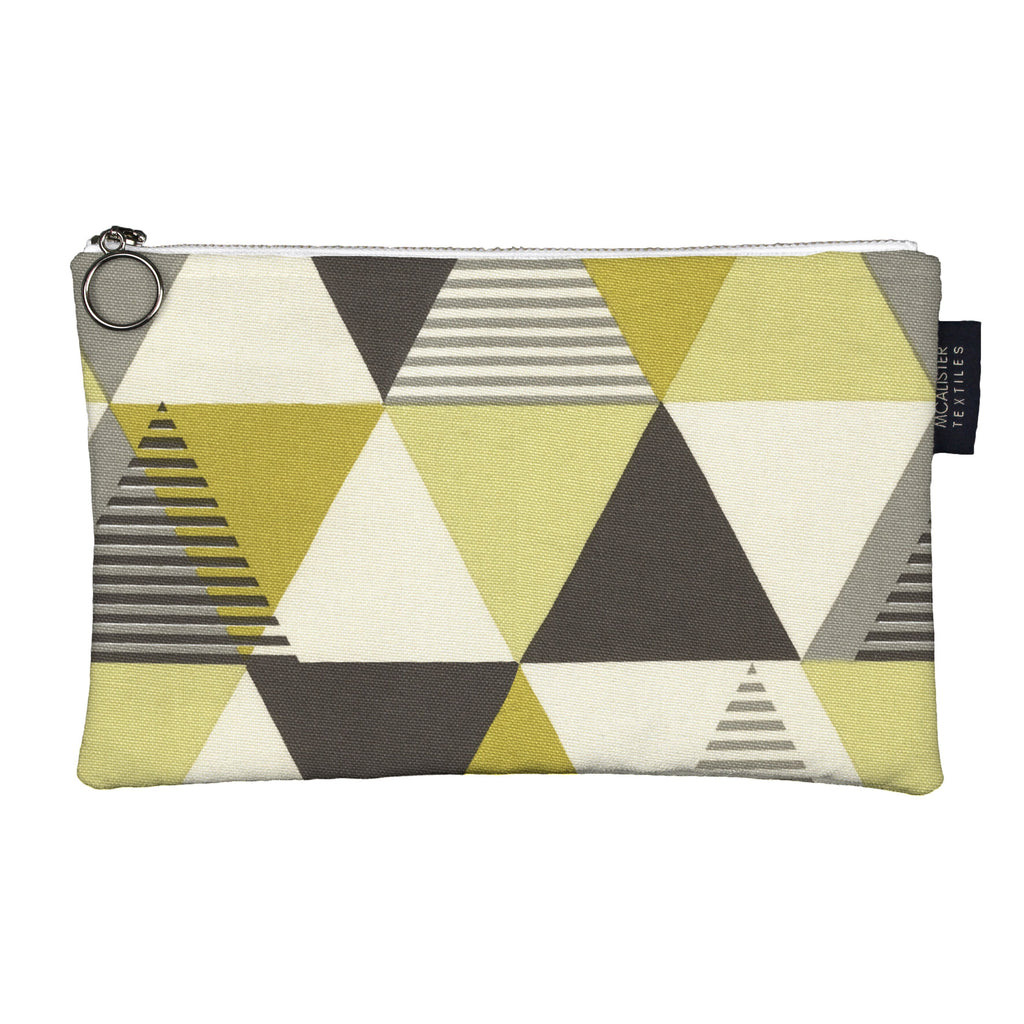McAlister Textiles Vita Yellow + Grey Makeup Bag - Large Clutch Bag