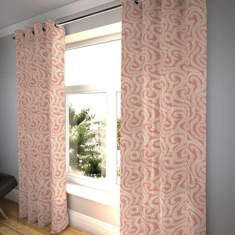 "McAlister Textiles Little Leaf Blush Pink Curtains Tailored Curtains 116cm(w) x 182cm(d) (46"" x 72"")"
