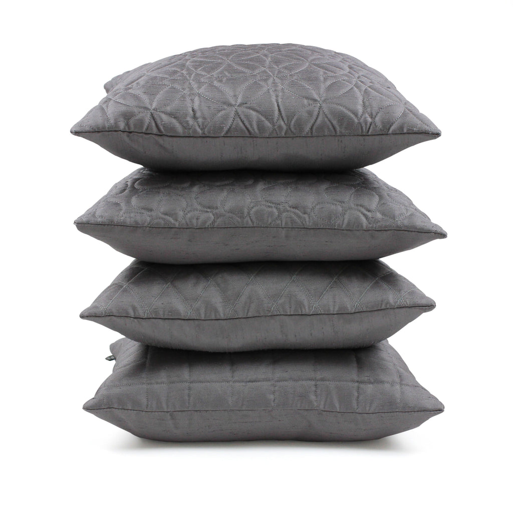 McAlister Textiles Rocco Round Quilted Charcoal Grey Silk Cushion Cushions and Covers