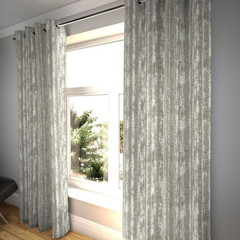 "McAlister Textiles Textured Chenille Silver Grey Curtains Tailored Curtains 116cm(w) x 182cm(d) (46"" x 72"")"