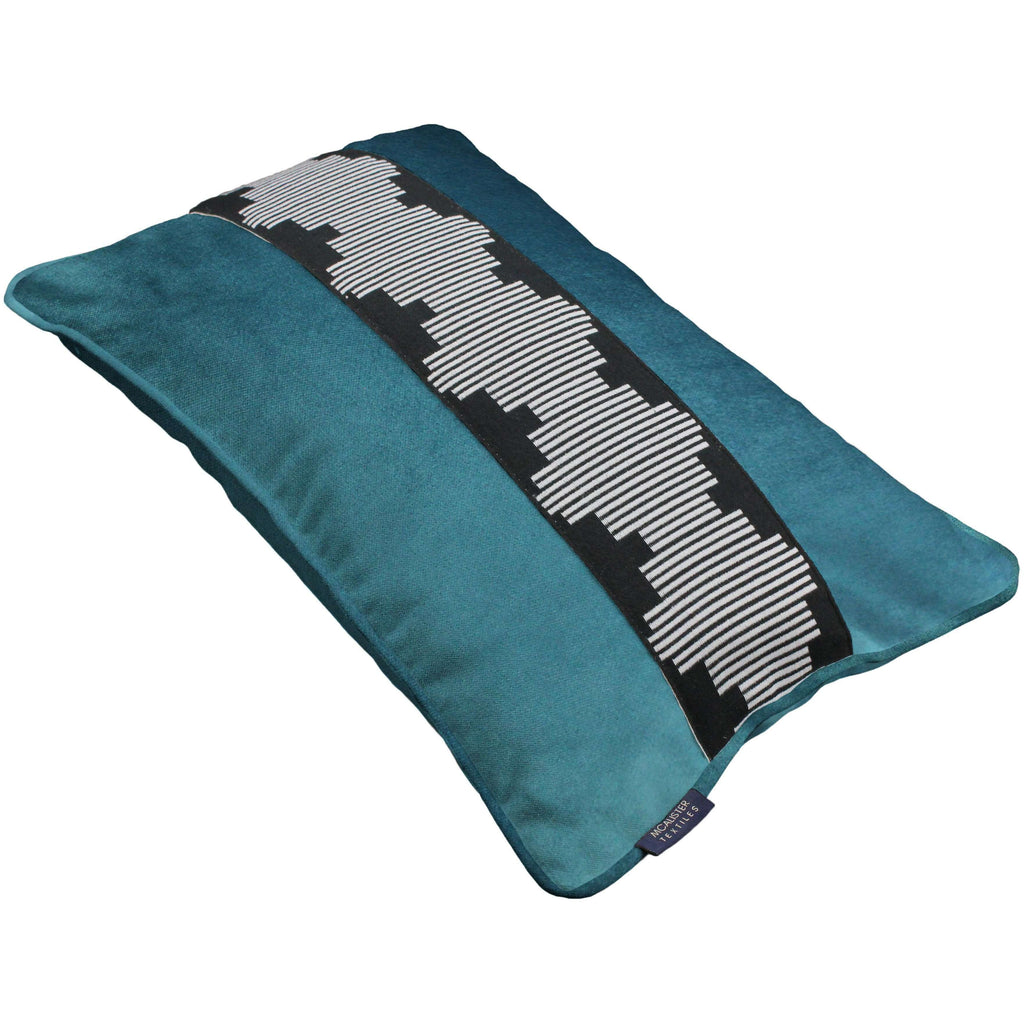 McAlister Textiles Maya Striped Blue Teal Velvet Cushion Cushions and Covers