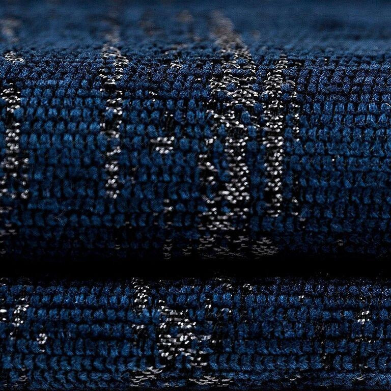 McAlister Textiles Textured Chenille Navy Blue Curtains Tailored Curtains