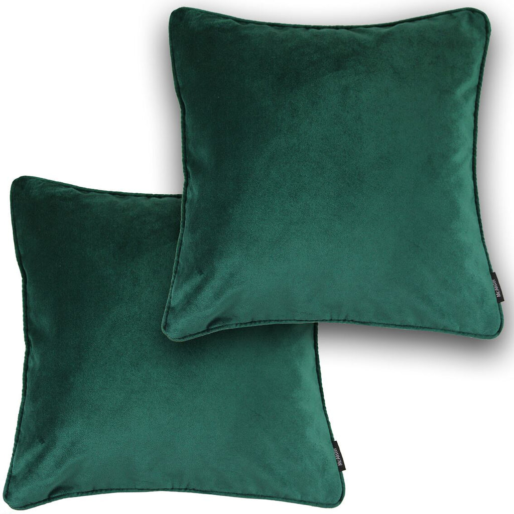 McAlister Textiles Matt Emerald Green Velvet 43cm x 43cm Cushion Sets Cushions and Covers Cushion Covers Set of 2