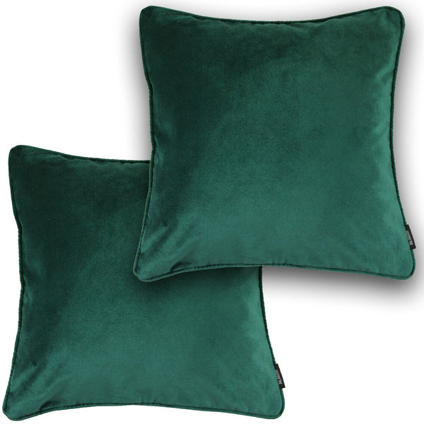 McAlister Textiles Matt Emerald Green Velvet Cushion Set Cushions and Covers Cushion Covers Set of 2