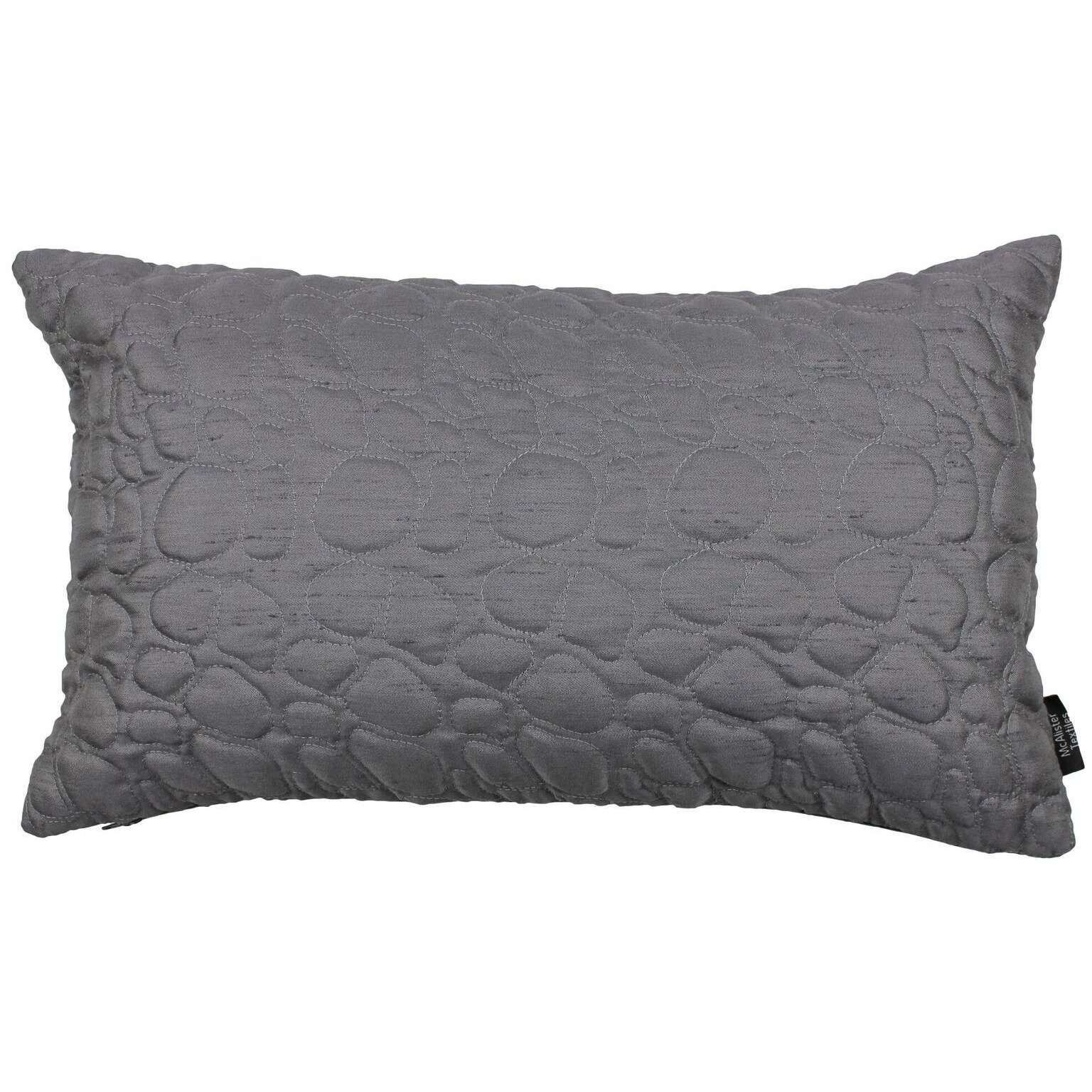 McAlister Textiles Rocco Pebble Quilted Charcoal Grey Silk Cushion Cushions and Covers Cover Only 50cm x 30cm
