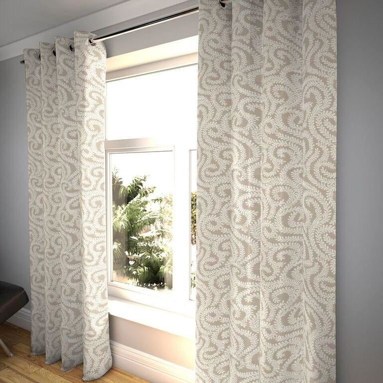"McAlister Textiles Little Leaf Pale Beige Curtains Tailored Curtains 116cm(w) x 182cm(d) (46"" x 72"")"