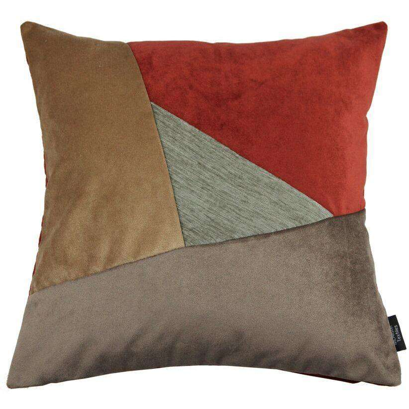 McAlister Textiles Triangle Patchwork Velvet Brown, Gold + Red Cushion Cushions and Covers Cover Only 43cm x 43cm