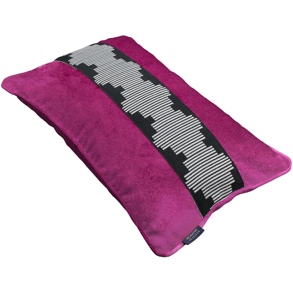 McAlister Textiles Maya Striped Fuchsia Pink Velvet Cushion Cushions and Covers