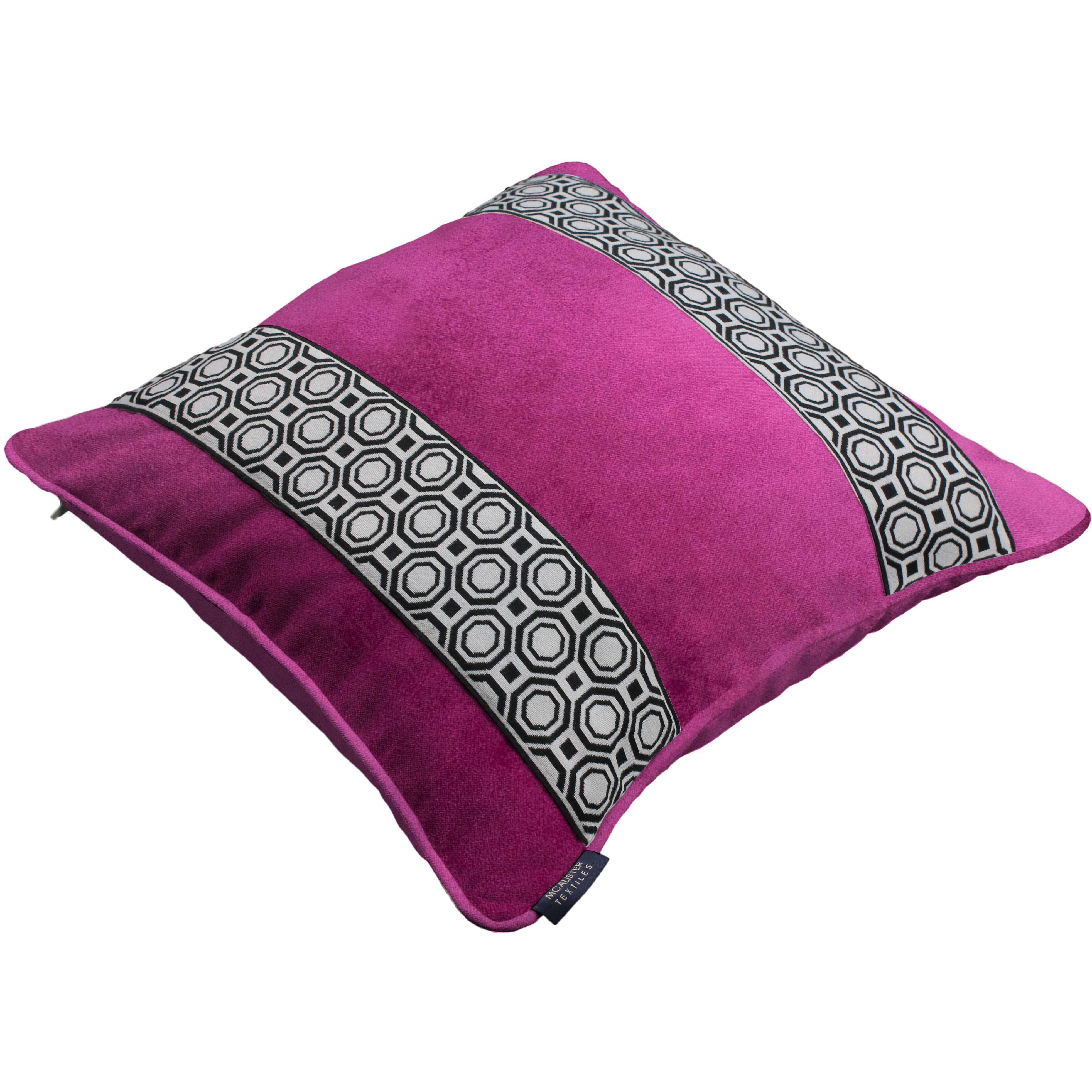 McAlister Textiles Cancun Striped Fuchsia Pink Velvet Cushion Cushions and Covers