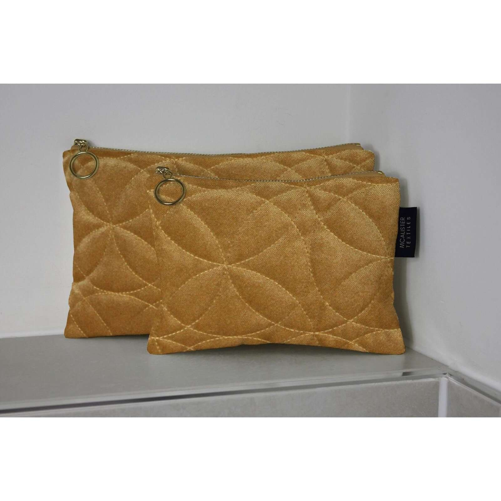 McAlister Textiles Circular Pattern Yellow Velvet Makeup Bag Set Clutch Bag