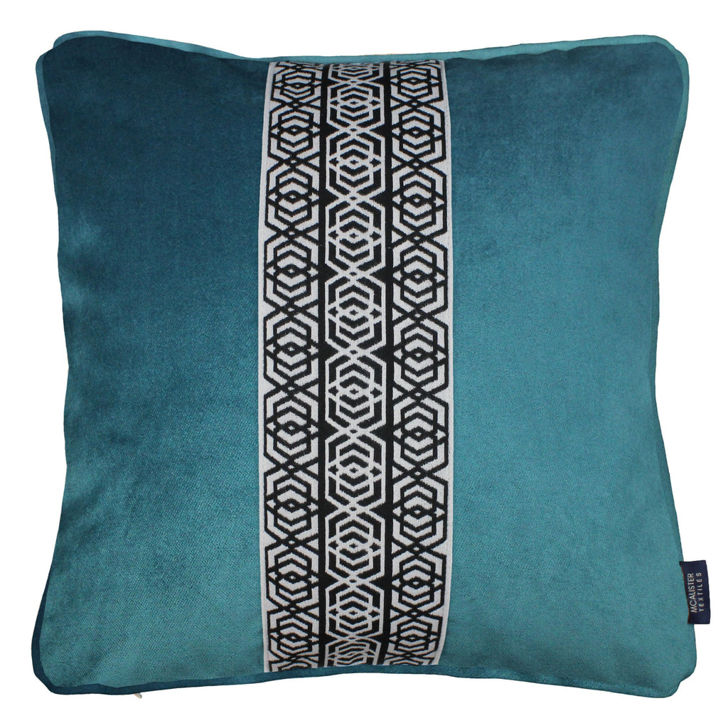 McAlister Textiles Coba Striped Blue Teal Velvet Cushion Cushions and Covers Polyester Filler 43cm x 43cm