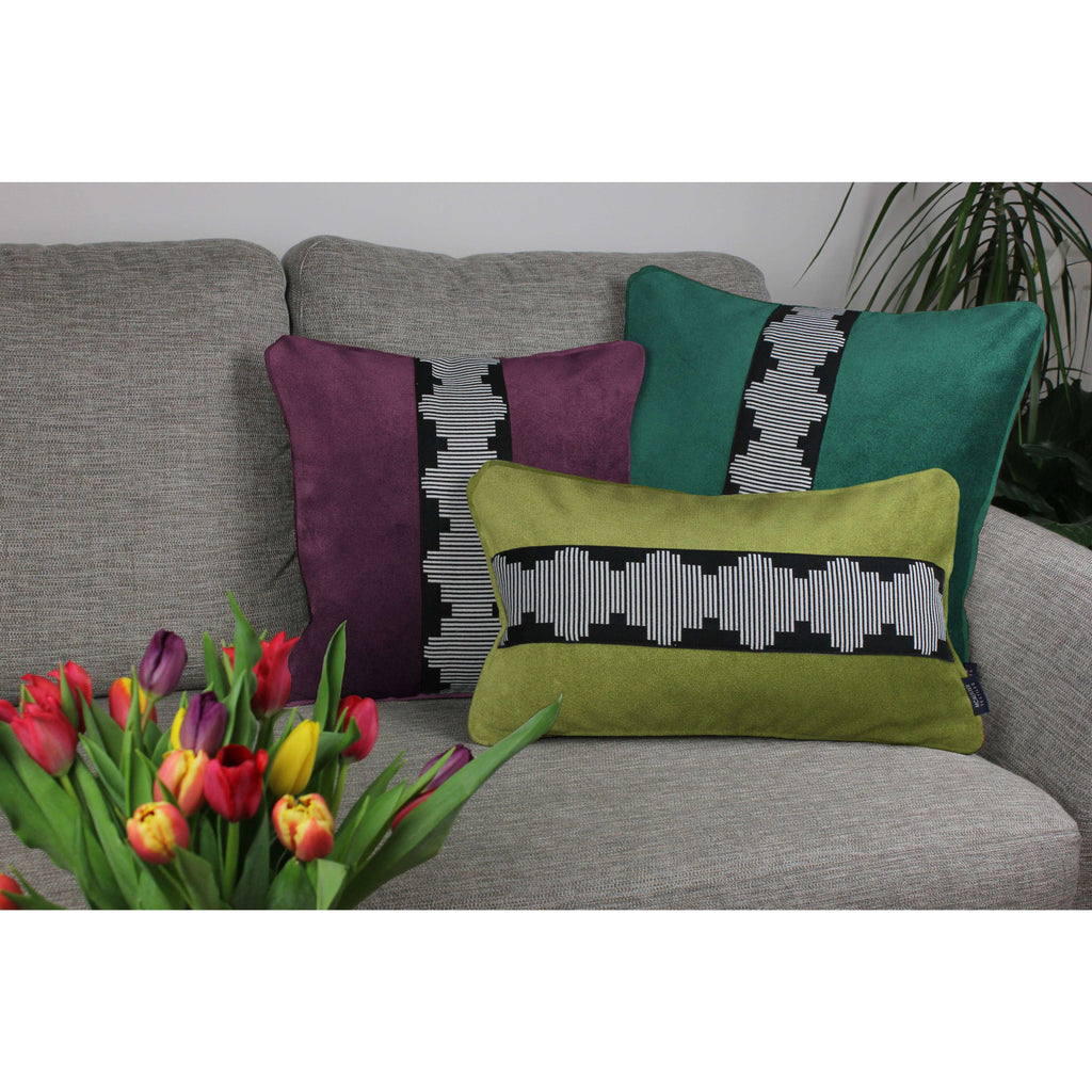 McAlister Textiles Maya Striped Emerald Green Velvet Cushion Cushions and Covers