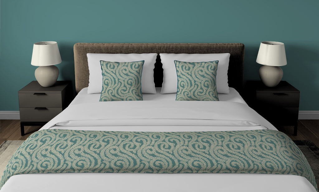 McAlister Textiles Little Leaf Teal Bedding Set Bedding Set