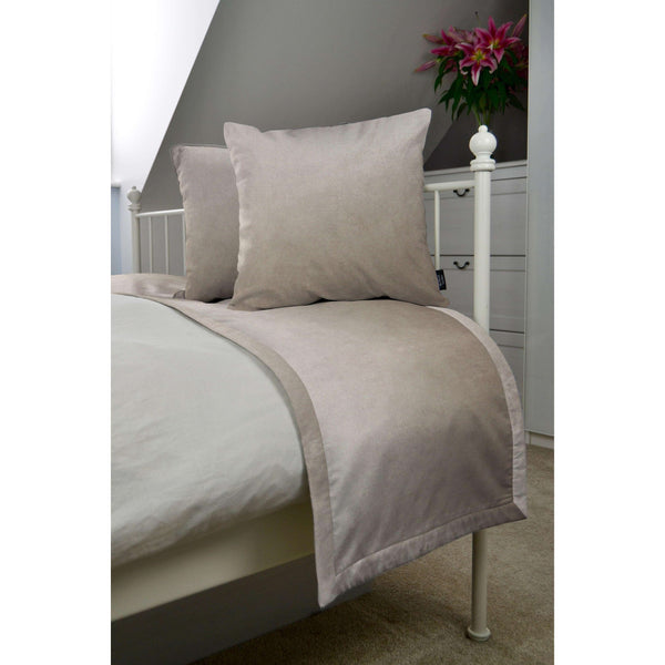McAlister Textiles Matt Beige Mink Velvet Bedding Set Bedding Set Runner (50x240cm) + 2x Cushion Covers