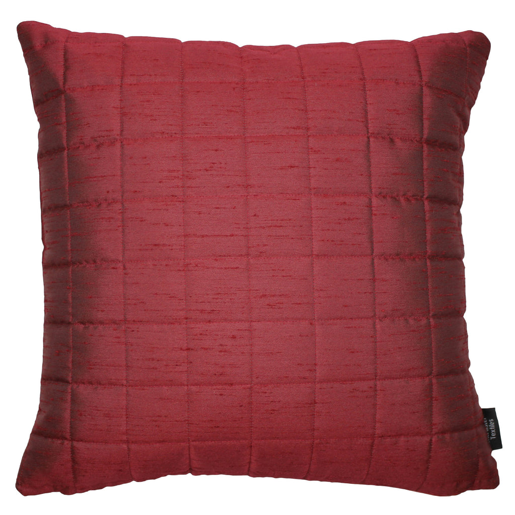 McAlister Textiles Rocco Square Quilted Wine Red Silk Cushion Cushions and Covers Cover Only 43cm x 43cm