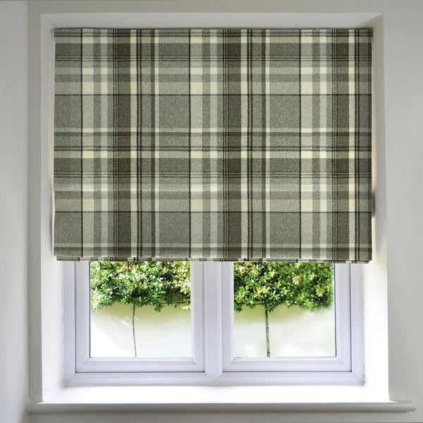 McAlister Textiles Heritage Tartan Check Charcoal Grey Roman Blind Roman Blinds Standard Lining 130cm x 200cm Charcoal Grey