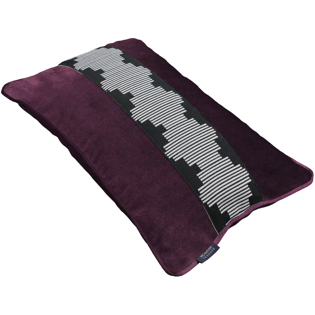 McAlister Textiles Maya Striped Aubergine Purple Velvet Cushion Cushions and Covers