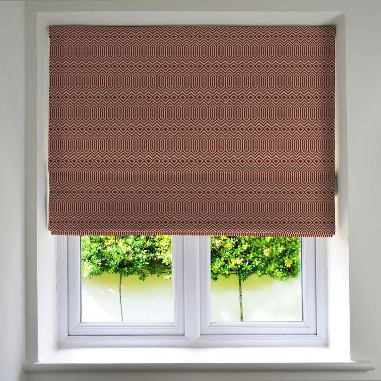 McAlister Textiles Colorado Geometric Red Roman Blind Roman Blinds Standard Lining 130cm x 200cm