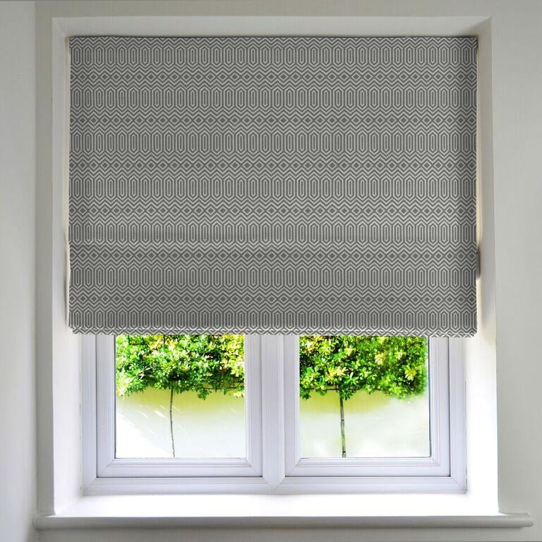 McAlister Textiles Colorado Geometric Charcoal Grey Roman Blind Roman Blinds Standard Lining 130cm x 200cm