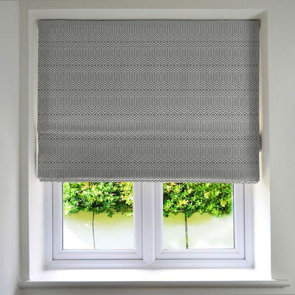 McAlister Textiles Colorado Geometric Charcoal Grey Roman Blind Roman Blinds