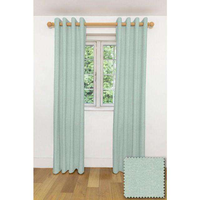 "McAlister Textiles Herringbone Duck Egg Blue Curtains Tailored Curtains Pencil Pleat Standard Lining 116cm(w) x 137cm(d) (46"" x 54"")"