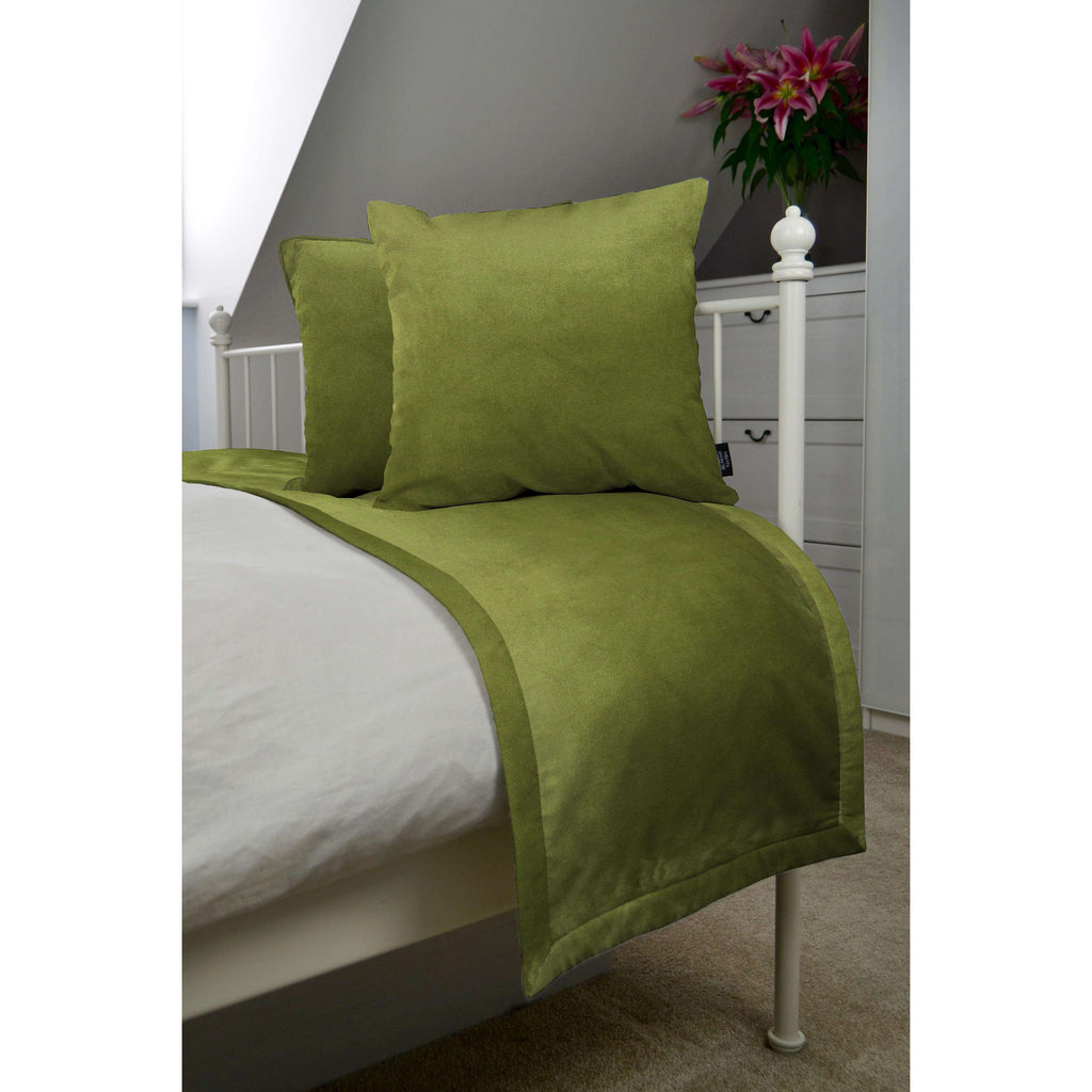 McAlister Textiles Matt Lime Green Velvet Bedding Set Bedding Set Runner (50x240cm) + 2x Cushion Covers