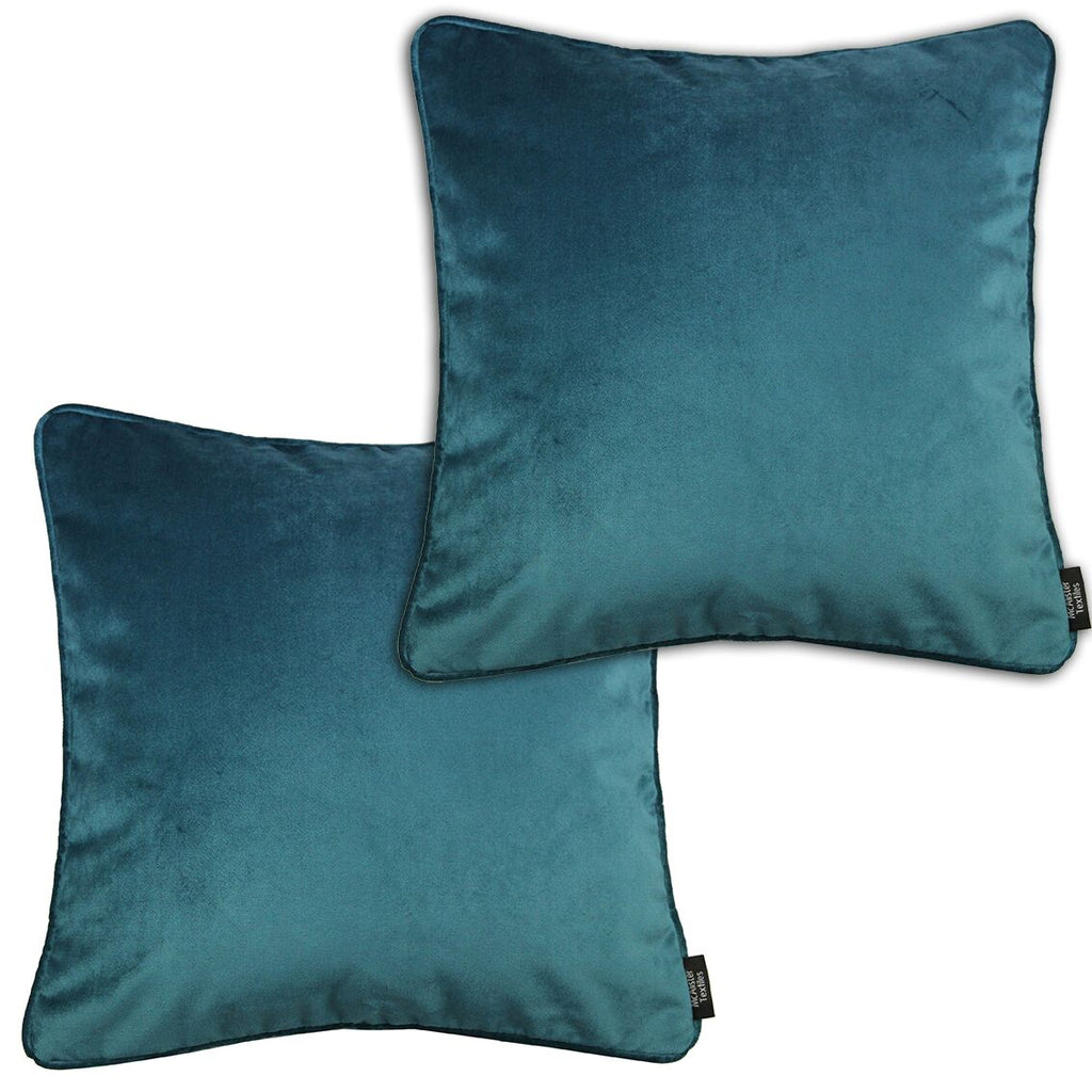 McAlister Textiles Matt Blue Teal Velvet 43cm x 43cm Cushion Sets Cushions and Covers Cushion Covers Set of 2
