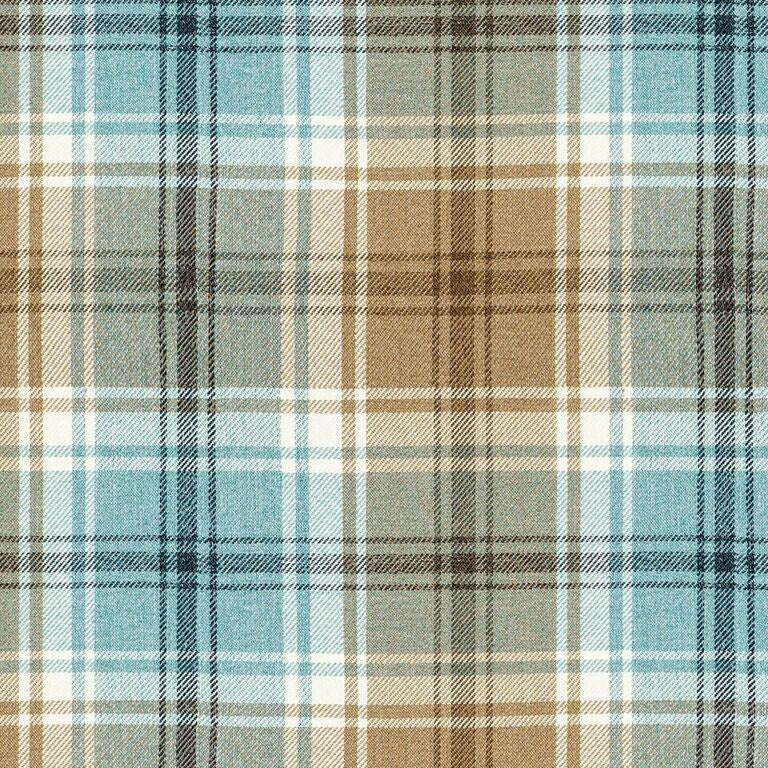 McAlister Textiles Angus Duck Egg Blue Tartan Curtains Tailored Curtains
