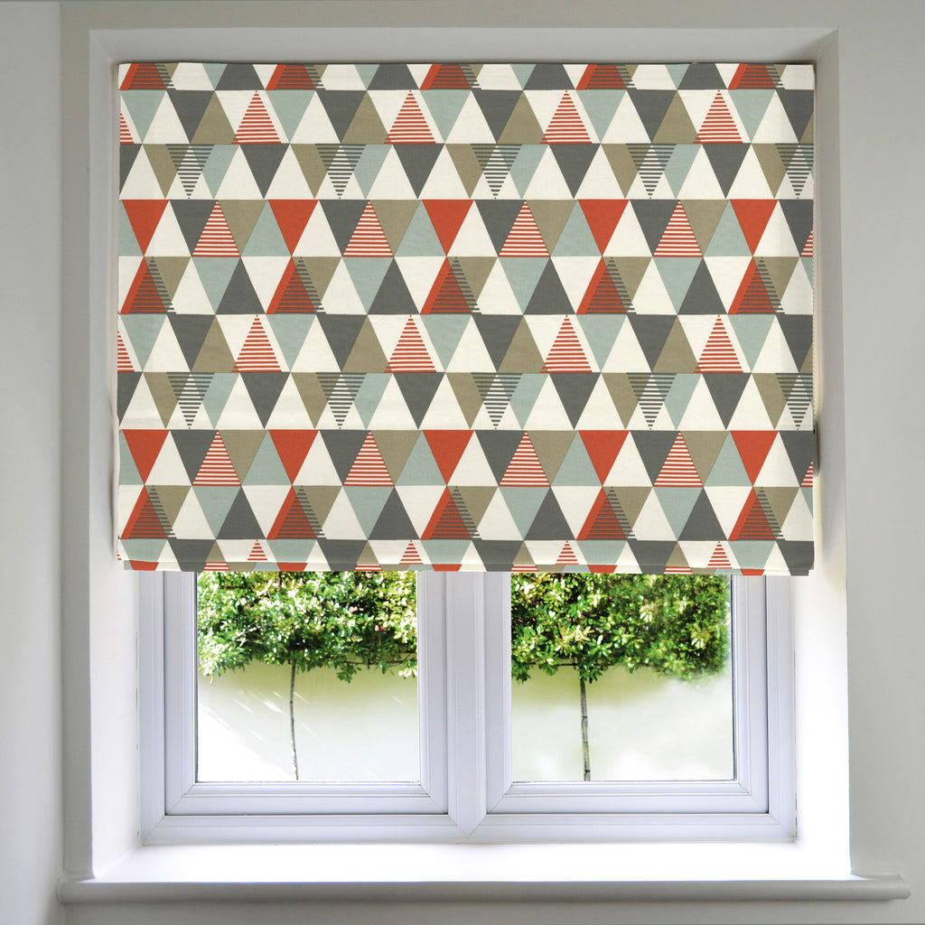 McAlister Textiles Vita Cotton Print Burnt Orange Roman Blind Roman Blinds Standard Lining 130cm x 200cm