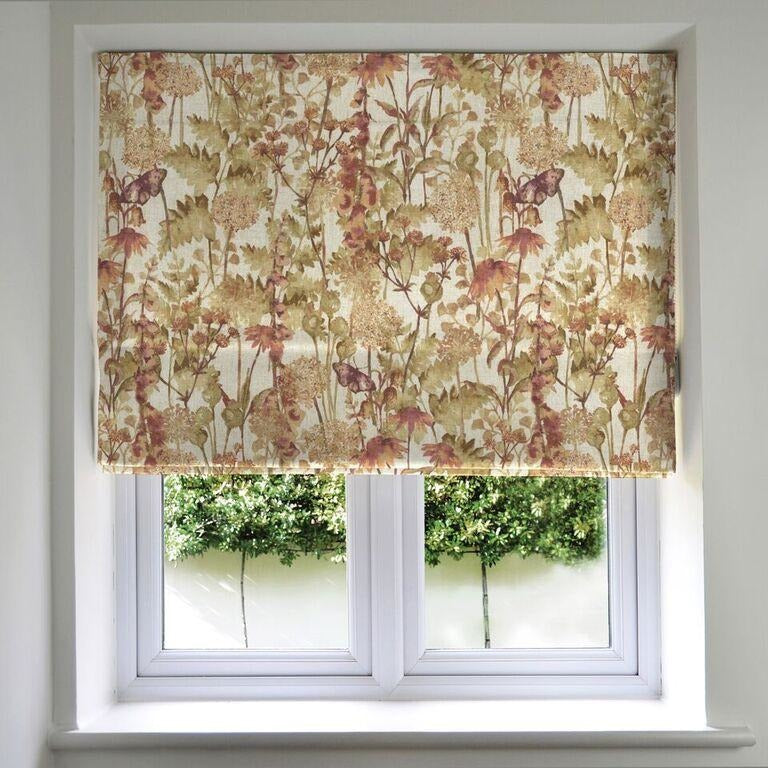 McAlister Textiles Wildflower Burnt Orange Linen Roman Blind Roman Blinds Standard Lining 130cm x 200cm