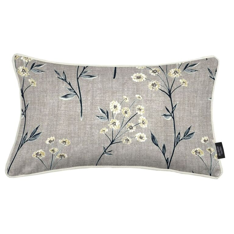McAlister Textiles Meadow Soft Grey Floral Cotton Print Pillow Pillow Cover Only 50cm x 30cm