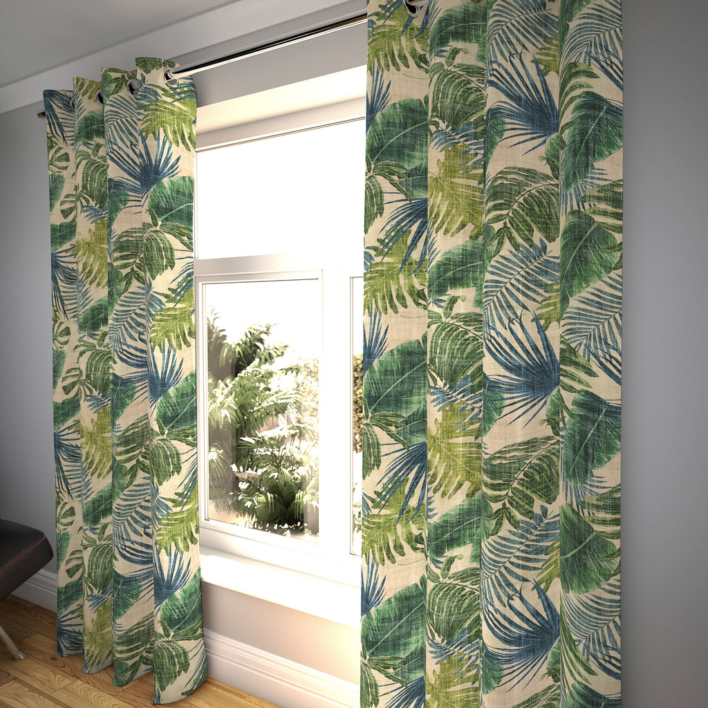 "McAlister Textiles Palm Leaf Velvet Print Curtains Tailored Curtains 116cm(w) x 182cm(d) (46"" x 72"")"